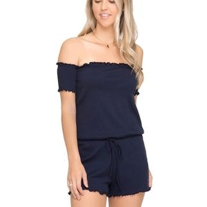 Navy Blue Off the Shoulder Ruffle Romper